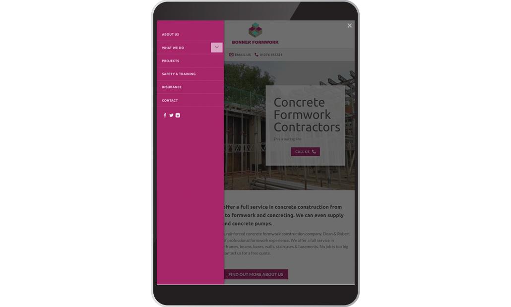 Bonner Formwork website on iPad