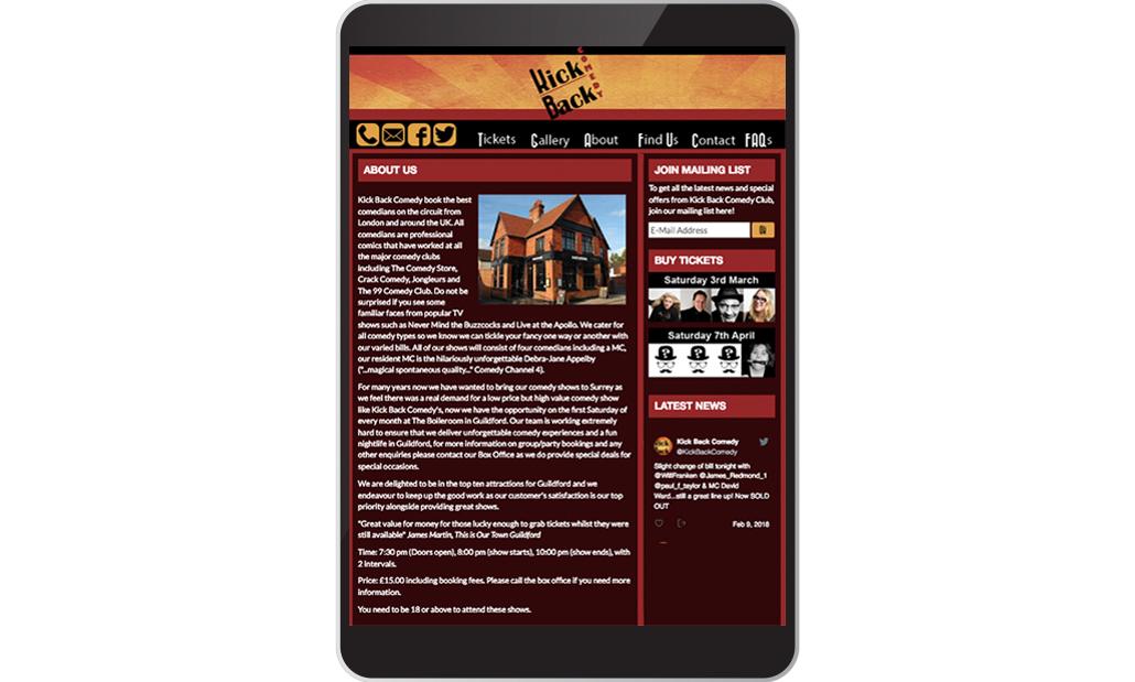 Kick Back Comedy Website on a iPad