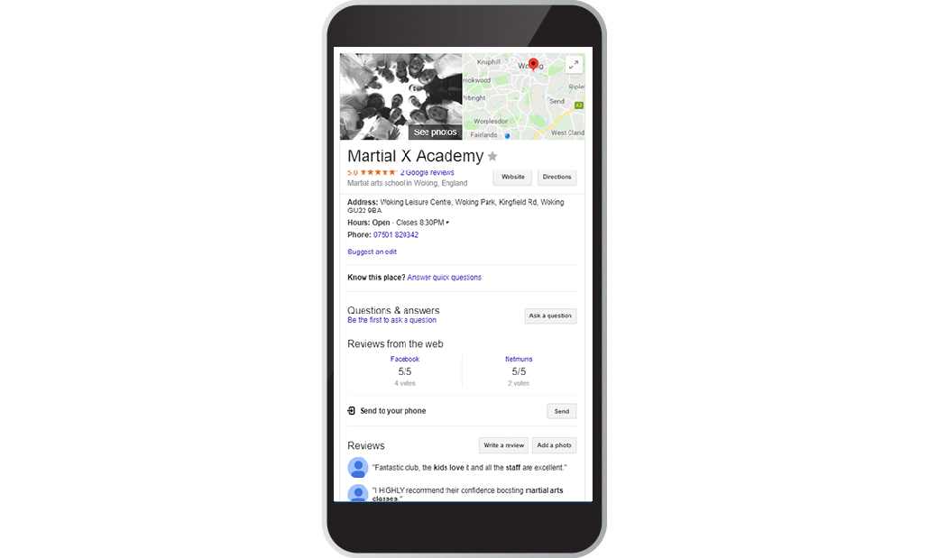 Martial X Academy Google My Business Mobile